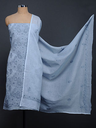 Blue Chikankari Kota Doria Kurta Fabric with Dupatta