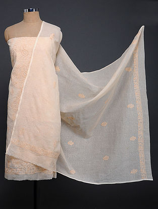 Peach Chikankari Kota Doria Kurta Fabric with Dupatta