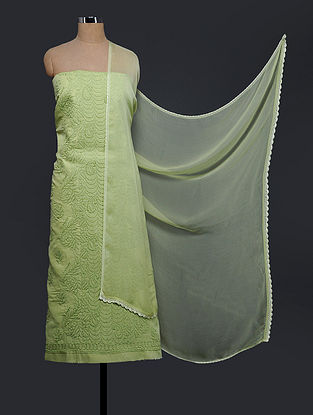 Green Chikankari Cotton Blend Suit Fabric with Chiffon Dupatta