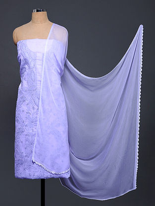 Purple Chikankari Cotton Blend Suit Fabric with Chiffon Dupatta