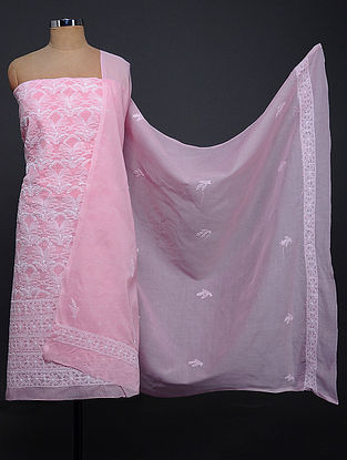 Pink-Ivory Chikankari Cotton Blend Kurta Fabric with Dupatta