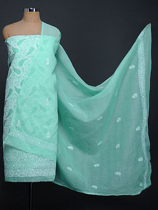 Green-Ivory Chikankari Cotton Blend Kurta Fabric with Dupatta