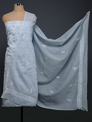 Grey-Ivory Chikankari Cotton Blend Kurta Fabric with Dupatta