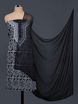 Black-Ivory Chikankari Cotton Blend Suit Fabric with Chiffon Dupatta