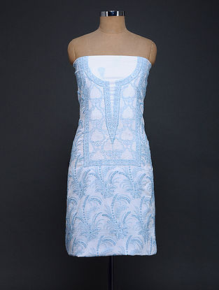 Ivory-Blue Chikankari Cotton Kurta Fabric