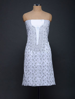 Ivory-Grey Chikankari Cotton Kurta Fabric