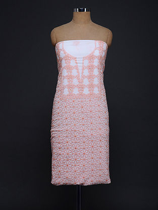 Coral-Ivory Chikankari Cotton Kurta Fabric
