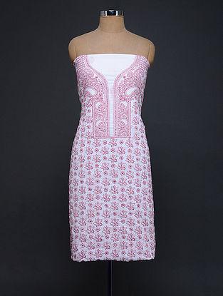 Ivory-Pink Chikankari Cotton Kurta Fabric