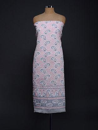 Pink-Grey Chikankari Kota Doria Kurta Fabric