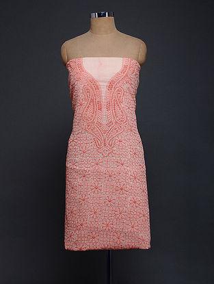 Red-Ivory Chikankari Kota Doria Kurta Fabric