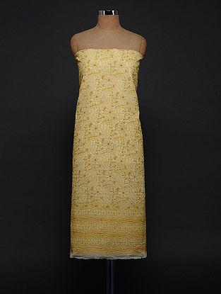 Ivory-Yellow Chikankari Kota Doria Kurta Fabric