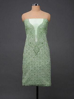 Green-Ivory Ivory Chikankari Kota Doria Kurta Fabric