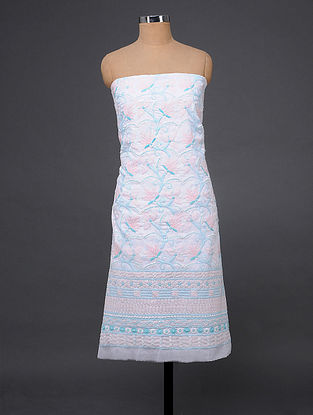 Ivory-Pink Chikankari Cotton Blend Kurta Fabric