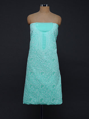 Turquoise-Ivory Chikankari Cotton Blend Kurta Fabric
