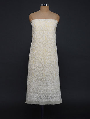 Beige-Ivory Chikankari Cotton Blend Kurta Fabric