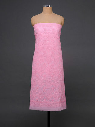 Pink Chikankari Cotton Blend Kurta Fabric