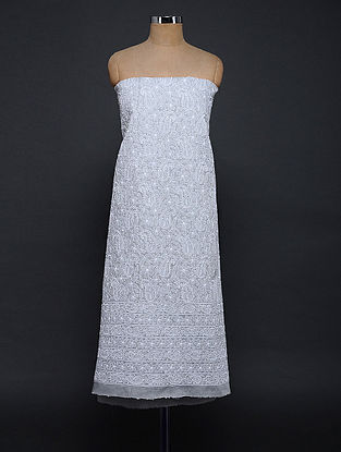Grey-Ivory Chikankari Cotton Blend Kurta Fabric