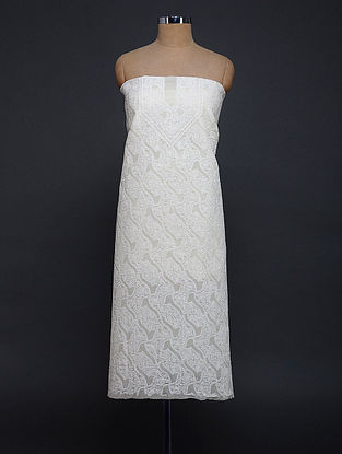 Ivory Chikankari Cotton Blend Kurta Fabric