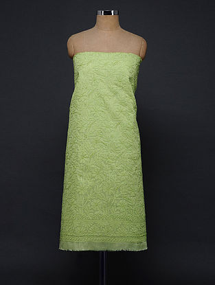 Green Chikankari Cotton Blend Kurta Fabric