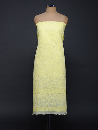 Yellow Chikankari Cotton Blend Kurta Fabric