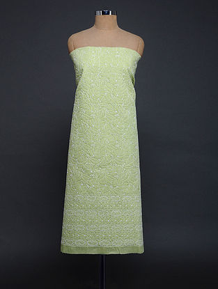 Green-Ivory Chikankari Cotton Blend Kurta Fabric