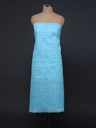 Blue Chikankari Cotton Blend Kurta Fabric