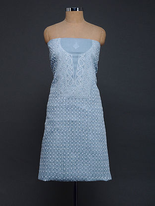 Blue-Ivory Chikankari Cotton Blend Kurta Fabric