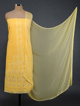 Yellow Chikankari and Applique-work Cotton Blend Suit Fabric with Chiffon Dupatta