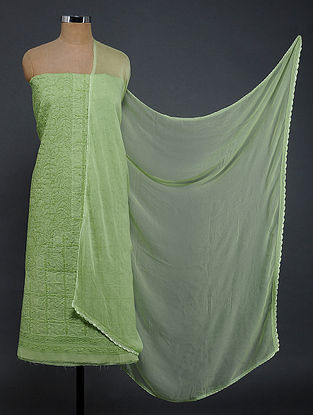 Green Chikankari and Applique-work Cotton Blend Suit Fabric with Chiffon Dupatta