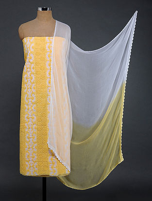 Ivory-Yellow Chikankari and Applique-work Cotton Blend Suit Fabric with Chiffon Dupatta