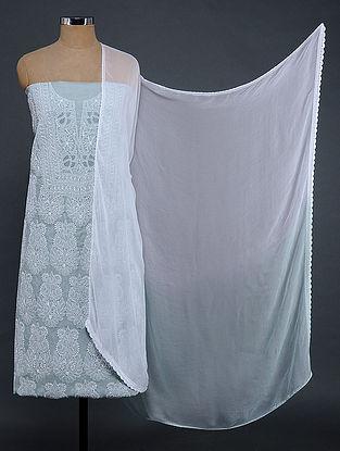 Grey-Ivory Chikankari Cotton Blend Suit Fabric with Chiffon Dupatta