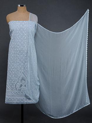 Blue-Ivory Chikankari Cotton Blend Suit Fabric with Chiffon Dupatta
