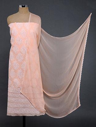 Peach-Ivory Chikankari Cotton Blend Suit Fabric with Chiffon Dupatta