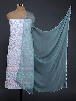 Ivory-Blue Chikankari Cotton Blend Suit Fabric