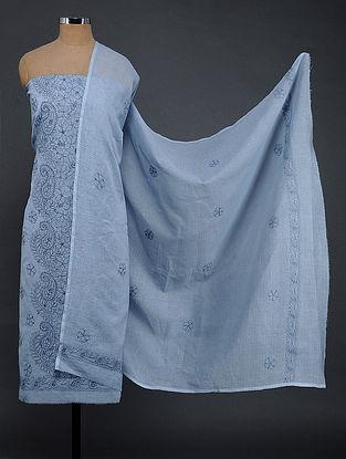 Blue Chikankari Kota Doria Kurta Fabric with Dupatta