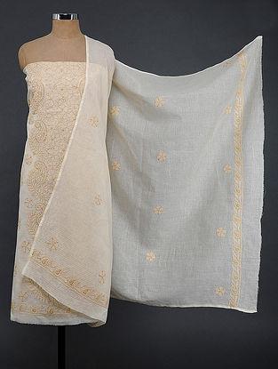 Beige-Ivory Chikankari Kota Doria Kurta Fabric with Dupatta