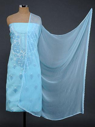 Turquoise-Ivory Chikankari Cotton Blend Suit Fabric
