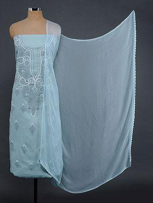 Grey-Ivory Chikankari Cotton Blend Suit Fabric