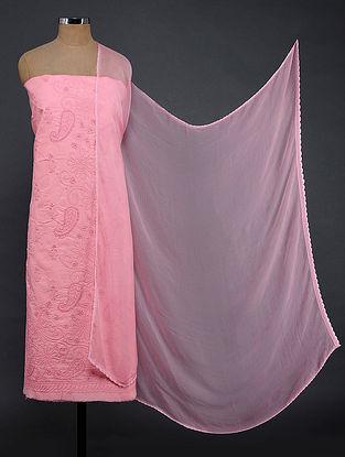 Pink Chikankari Cotton Blend Suit Fabric