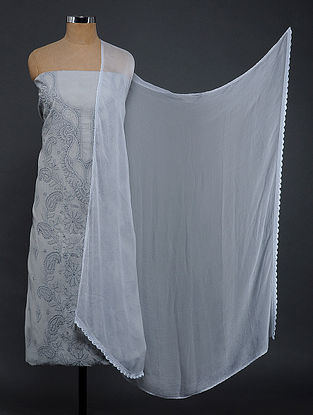 Grey Chikankari Cotton Blend Suit Fabric