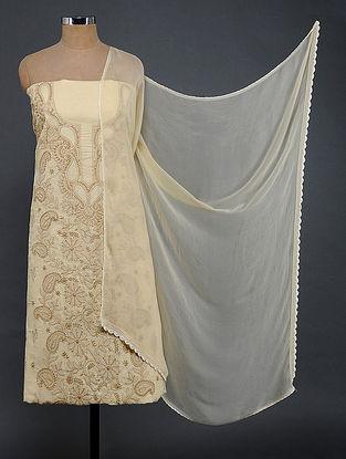 Beige Chikankari Cotton Blend Suit Fabric