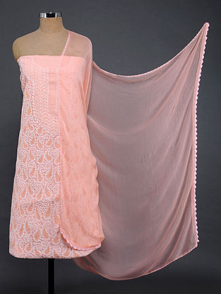 Pink-Ivory Chikankari Cotton Blend Suit Fabric