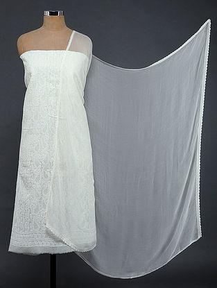 Ivory Chikankari Cotton Blend Suit Fabric