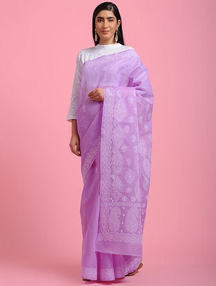 Purple Chikankari Cotton Blend Saree