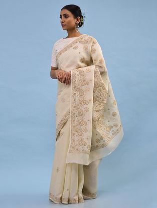 Beige Chikankari Cotton Blend Saree
