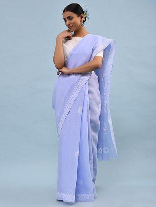 Purple Chikankari Cotton Blend Saree