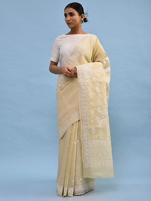 Beige Chikankari Cotton Blend Saree