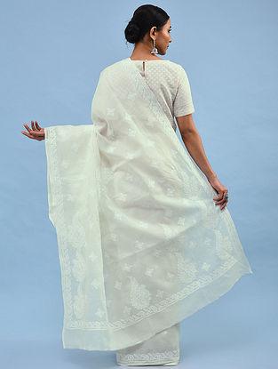 White Chikankari Cotton Blend Saree