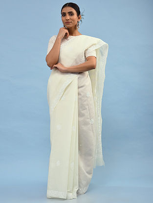 White Chikankari Cotton Blend Saree