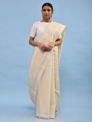 Ivory Chikankari Cotton Blend Saree